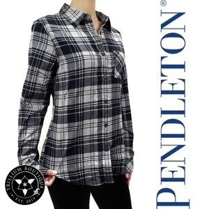 Pendleton Plaid Button-Down Flannel Top Small NWT